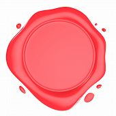 stock photo of wax seal  - Red Shiny Wax Seal 3d Illustration Isolated on White - JPG