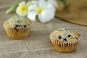 picture of sackcloth  - muffin on burlap sackcloth homemade dessert breakfast health food