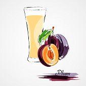 stock photo of lilas  - Hand drawn vector purple plum ripefruit and juice on light background - JPG