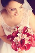 picture of calla  - Beautiful bride holding a white and red calla lily - JPG