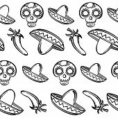 foto of sombrero  - Black and white seamless background with calaveras jalapenos peppers and sombreros - JPG