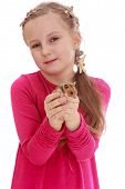 stock photo of hamster  - Girl school girl holding a hamster - JPG