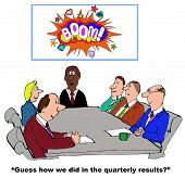 picture of guess  - Business cartoon of business meeting and chart with the word  - JPG