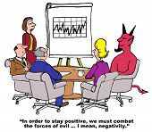 pic of positive negative  - Business cartoon of business meeting with a devil in attendance - JPG