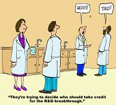 pic of scientist  - Business cartoon of scientists tossing a coin in the background - JPG
