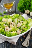 picture of liver  - Vegetable salad with cod liver seasoned with lemon sauce - JPG