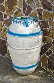 foto of dust-bin  - amphora form dust bin in city street Greece - JPG