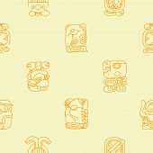 stock photo of glyphs  - Seamless background with Maya calendar named months and associated glyphs for your design - JPG