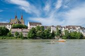 stock photo of tourist-spot  - Old ferry crossing the Rhine river at Basel Switzerland - JPG