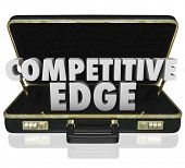 pic of competition  - Competitive Edge 3d words in a black leather briefcase to illustrate a sales presentation or proposal with advantage over your competition - JPG