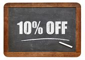 foto of ten  - ten percent off blackboard sign  - JPG