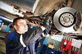 automobile mechanic inspecting car wheel brake disc and shoes of lifted automobile at repair service poster