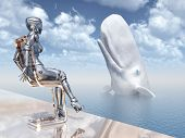 stock photo of sperm  - Computer generated 3D illustration with female robot and sperm whale - JPG