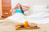 pic of bed breakfast  - awakening and breakfast tray on the bed - JPG