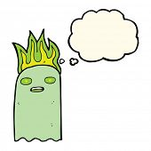 picture of funny ghost  - funny cartoon ghost with thought bubble - JPG