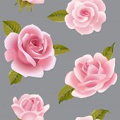 stock photo of climbing roses  - Vintage vector pink roses seamless pattern - JPG