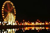 picture of amusement park rides  - Amusement park at night - JPG