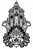pic of hamsa  - Indian hand drawn hamsa with ethnic ornaments - JPG