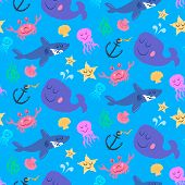 image of jellyfish  - Seamless pattern of cute sea world characters shark jellyfish crab starfish and whale decorated with plants - JPG