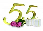 stock photo of fifties  - birthday concept with pink roses and gifts  - JPG