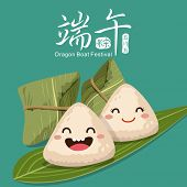 stock photo of dragon  - Vector chinese rice dumplings cartoon character illustration - JPG