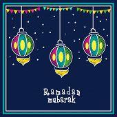foto of ramadan mubarak card  - Creative colorful hanging lanterns with bunting decoration on stars decorated blue background - JPG