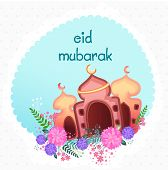 foto of eid mubarak  - Colorful creative illustration of mosque with flowers in a frame for muslim community festival - JPG