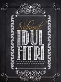 picture of fitri  - Stylish text Salamat Idul Fitri with floral design created by white chalk on blackboard background for Islamic festival - JPG
