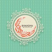 foto of crescent-shaped  - Beautiful floral design decorated vintage rounded frame with Arabic Islamic calligraphy of text Ramadan Kareem in crescent moon shape for Muslim community festival celebration - JPG
