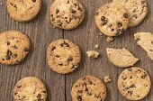pic of chocolate-chip  - Cookies chocolate or chocolate chips on a wooden table - JPG