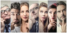picture of male female  - Portraits of people thinking - JPG