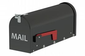 stock photo of mailbox  - Black Mailbox container isolated on white background - JPG