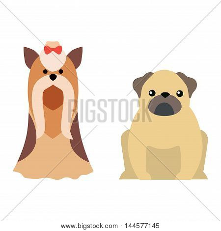 poster of Flat dog pet sitting cute dog vector. Flat dog animal pet vector illustration. Home cute sitting dog flat style. Dog vector silhouette isolated on white background