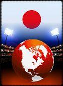 Постер, плакат: Флаг Японии с глобусом на стадион фон оригинальные иллюстрации