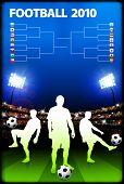 Постер, плакат: Футбол игрок на фоне стадион с кронштейн оригинальные иллюстрации