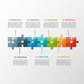 Vector 7 Steps Puzzle Style Timeline Infographic Template. Business Concept. poster