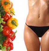 Постер, плакат: Диета состав свежих овощей и красивые женские тела