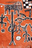 picture of dogon  - A vertical view of painted Dogon artwork on the side of a Hogon - JPG