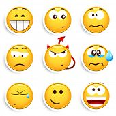 stock photo of smiley face  - Set of smileys - JPG