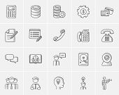 Technology sketch icon set for web, mobile and infographics. Hand drawn technology icon set. Technol poster