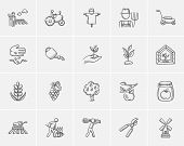 Agriculture sketch icon set for web, mobile and infographics. Hand drawn agriculture icon set. Agric poster