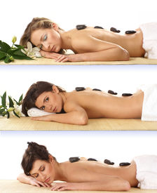 pic of spa massage  - Three attractive women getting spa treatment isolated on white - JPG