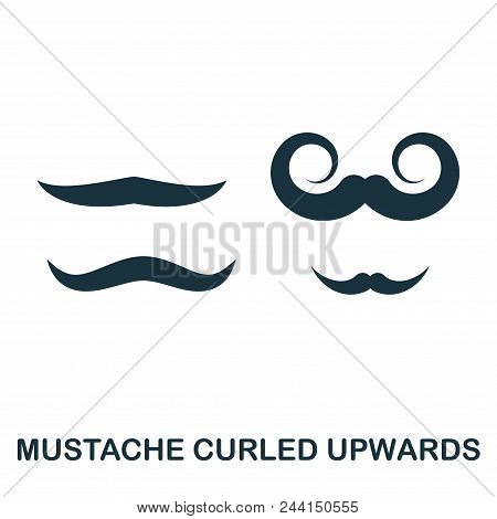 Mustache Curled Upwards Icon Flat