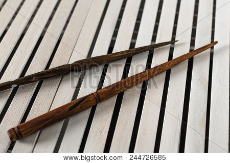 Brown Wooden Magic Wands On