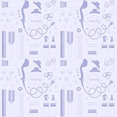 Salon Beauty Care Seamless Pattern. Hand Drawn Set Of Hair Styling. Hair Dryer, Hairbrushes, Sprays, poster