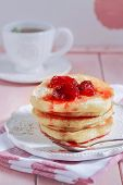 Pancakes With Strawberry Jam. Pancakes With Syrup. Pancake Breakfast poster