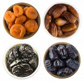 Collage Of Different Dried Fruits. Dried Prunes, Dried Apricots And Dates Isolated On White Backgrou poster