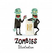 Couple Zombie Man Near Rip Gravestone In Cartoon Style. Halloween Undead Banner, Horror Monster Pers poster