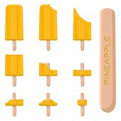 Vector Illustration Logo For Natural Pineapple Ice Cream On Stick. Ice Cream Pattern Consisting Of S poster
