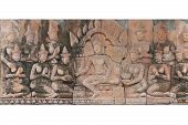 Broken Piece Of Ancient Stone Carving King And Concubine Harem Statue At Temple, Cambodia Vintage Ol poster